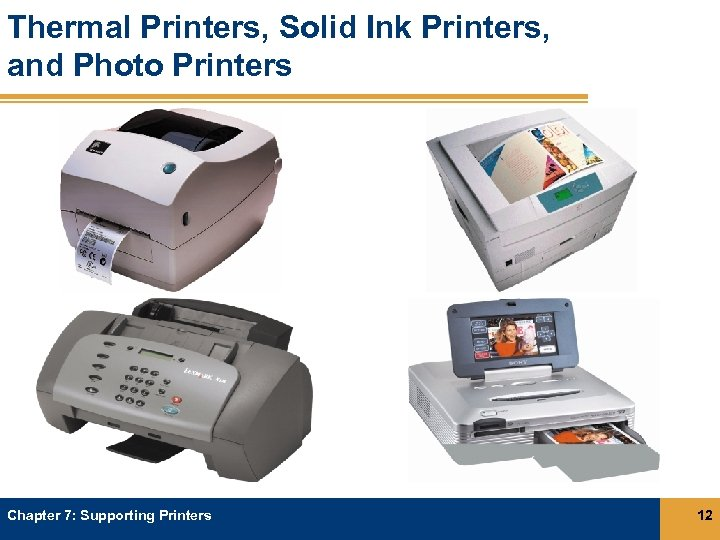 Thermal Printers, Solid Ink Printers, and Photo Printers Chapter 7: Supporting Printers 12