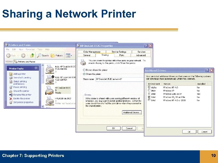 Sharing a Network Printer Chapter 7: Supporting Printers 19
