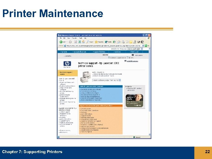 Printer Maintenance Chapter 7: Supporting Printers 22