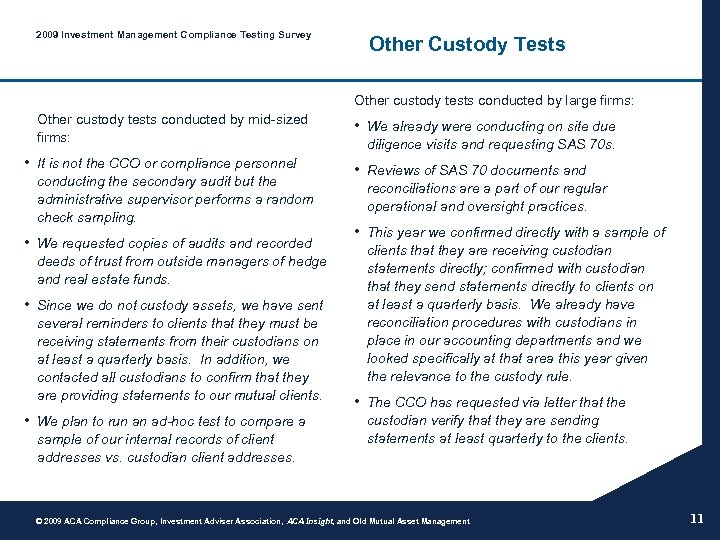 2009 Investment Management Compliance Testing Survey Other Custody Tests Other custody tests conducted by