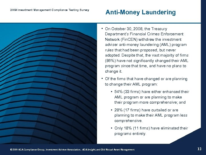 2009 Investment Management Compliance Testing Survey Anti-Money Laundering • On October 30, 2008, the