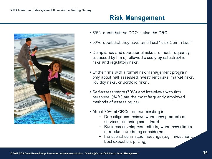 2009 Investment Management Compliance Testing Survey Risk Management • 36% report that the CCO