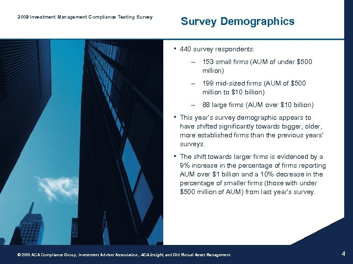 2009 Investment Management Compliance Testing Survey Demographics • 440 survey respondents: – 153 small