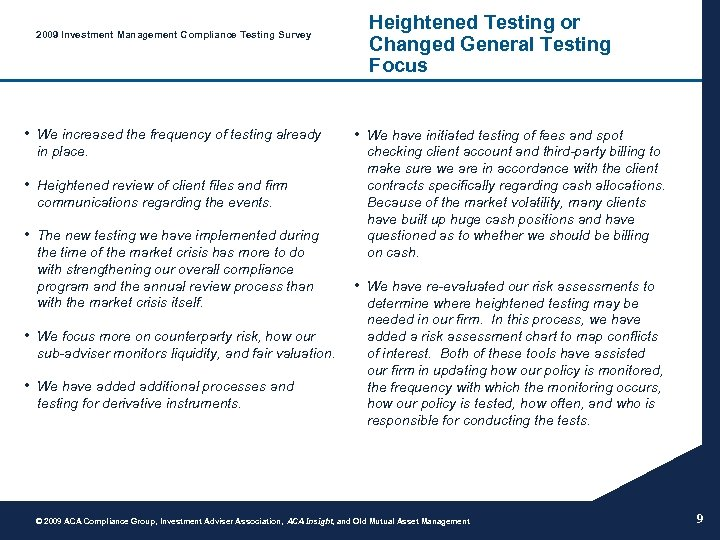 2009 Investment Management Compliance Testing Survey • We increased the frequency of testing already