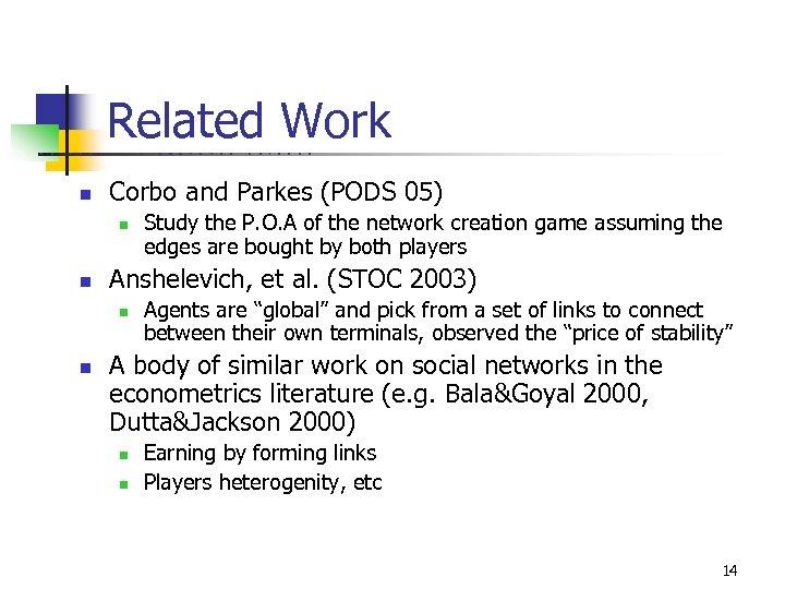Related Work U C B E R n K E L C O M