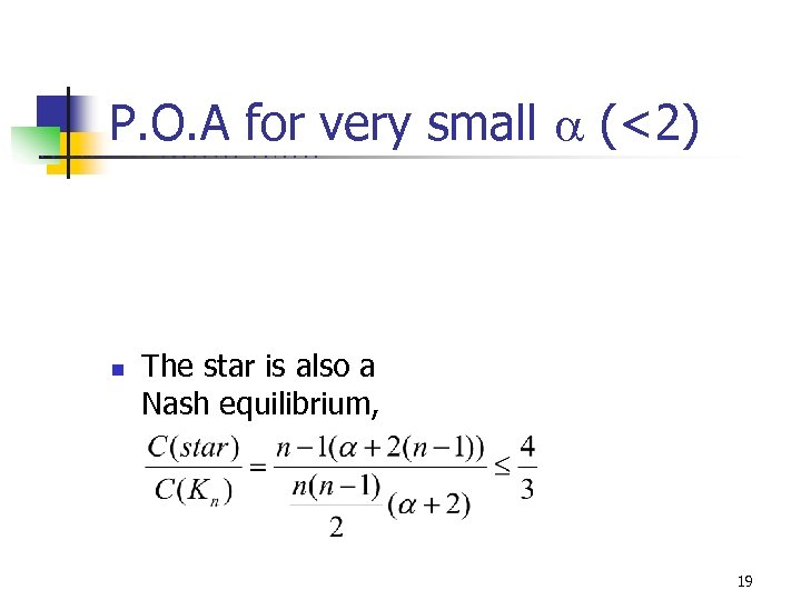 P. O. A for very small (<2) U C B E R K E