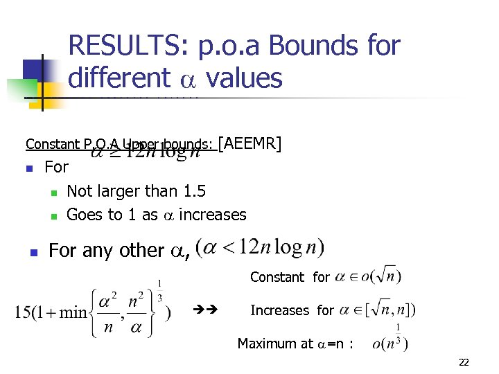 RESULTS: p. o. a Bounds for different values U C B E R K