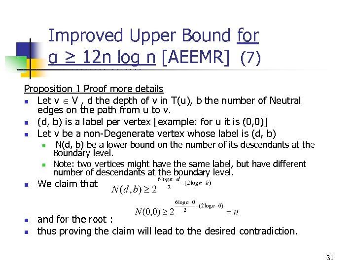Improved Upper Bound for α ≥ 12 n log n [AEEMR] (7) U C