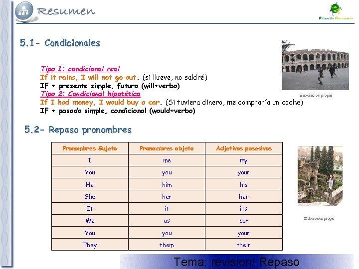 5. 1 - Condicionales Tipo 1: condicional real If it rains, I will not