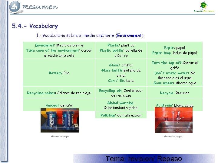 5. 4. - Vocabulary 1. - Vocabulario sobre el medio ambiente (Environment) Environmet: Medio