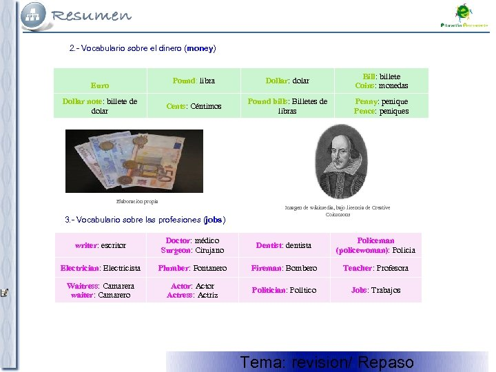2. - Vocabulario sobre el dinero (money) Euro Dollar note: billete de dolar Pound:
