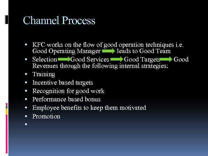 Channel Process KFC works on the flow of good operation techniques i. e. Good