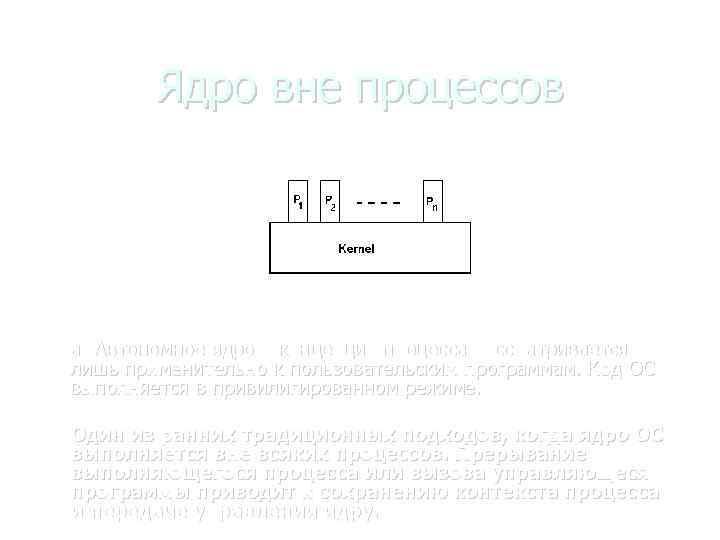 Ядро вне процессов а) Автономное ядро – концепция процесса рассматривается лишь применительно к пользовательским