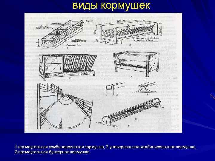 виды кормушек 1 прямоугольная комбинированная кормушка; 2 универсальная комбинированная кормушка; 3 прямоугольная бункерная кормушка