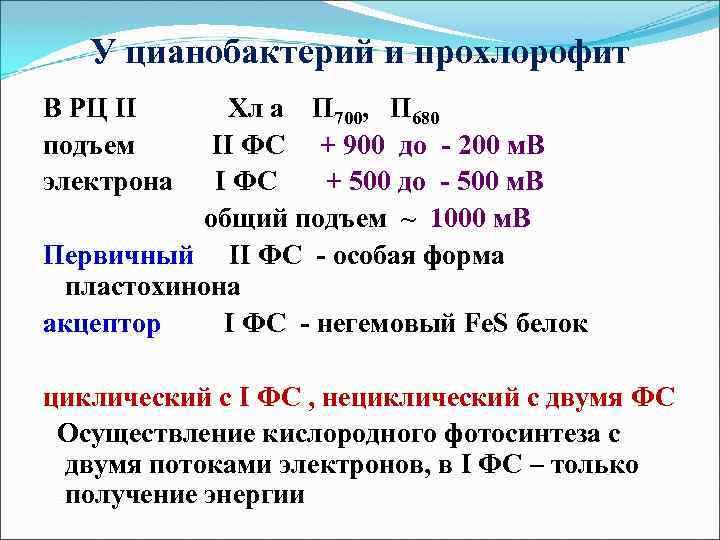 У цианобактерий и прохлорофит В РЦ II подъем электрона Хл а П 700, П