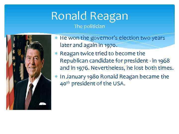 an introduction to the life of ronald wilson reagan Ronald reagan was the second child of john edward (jack) reagan, a struggling shoe salesman, and nelle wilson reagan reagan's nickname, dutch, derived from his father's habit of referring to his infant son as his fat little dutchman.