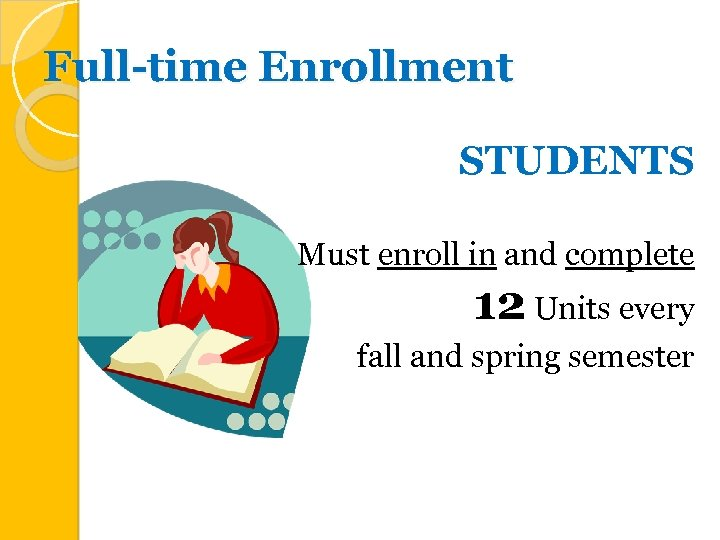 Full-time Enrollment STUDENTS Must enroll in and complete 12 Units every fall and spring