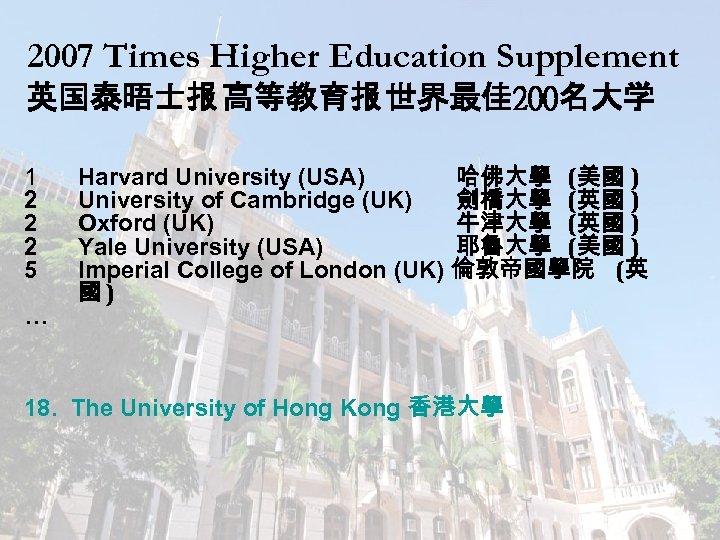 2007 Times Higher Education Supplement 英国泰晤士报 高等教育报 世界最佳 200名大学 1 2 2 2 5