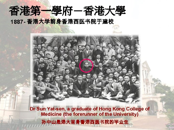 香港第一學府-香港大學 1887 - 香港大学前身香港西医书院于建校 Dr Sun Yat-sen, a graduate of Hong Kong College of