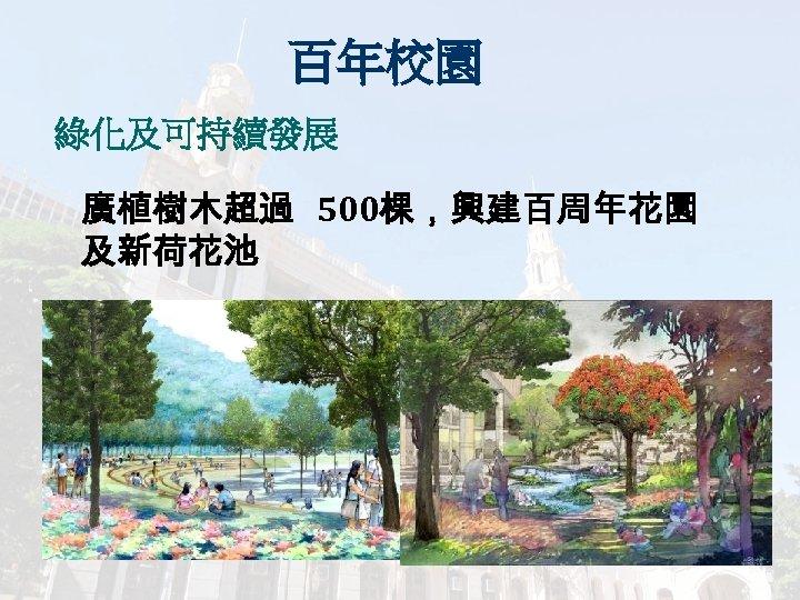 百年校園 綠化及可持續發展 廣植樹木超過 500棵,興建百周年花園 及新荷花池