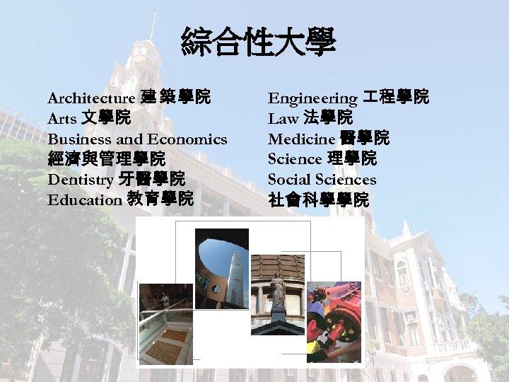 綜合性大學 Architecture 建 築 學院 Arts 文學院 Business and Economics 經濟與管理學院 Dentistry 牙醫學院 Education