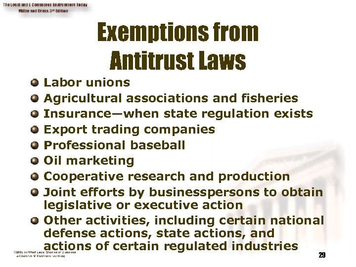 Exemptions from Antitrust Laws Labor unions Agricultural associations and fisheries Insurance—when state regulation exists
