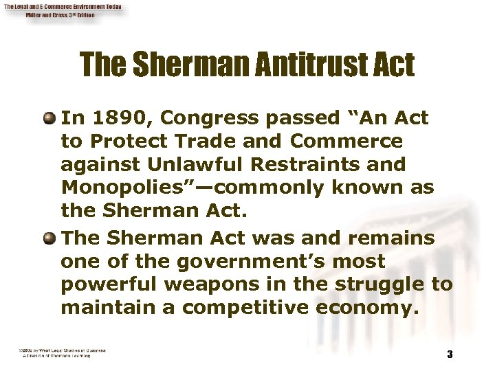 "The Sherman Antitrust Act In 1890, Congress passed ""An Act to Protect Trade and"