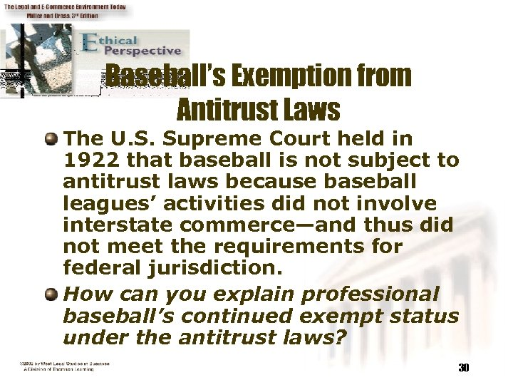 Baseball's Exemption from Antitrust Laws The U. S. Supreme Court held in 1922 that