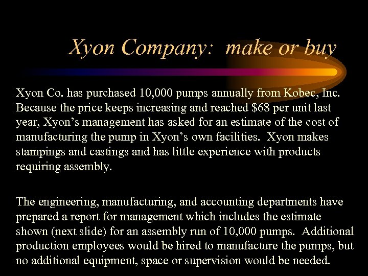 Xyon Company: make or buy Xyon Co. has purchased 10, 000 pumps annually from