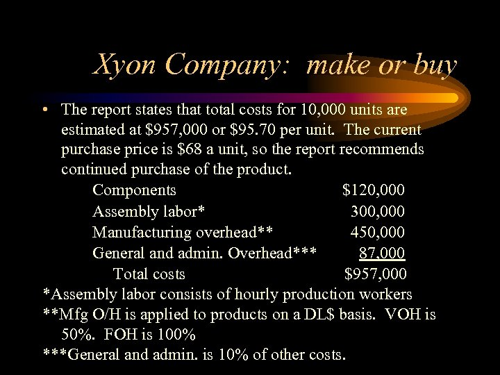 Xyon Company: make or buy • The report states that total costs for 10,