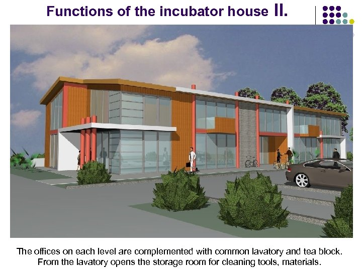 Functions of the incubator house II. The offices on each level are complemented with