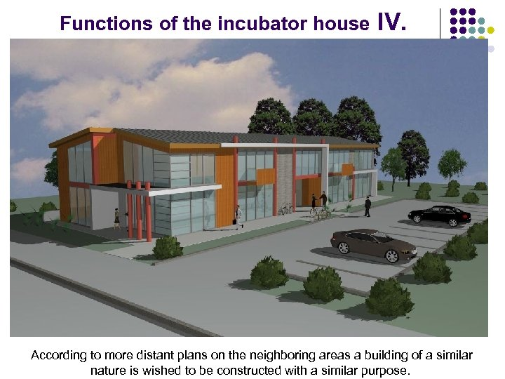 Functions of the incubator house IV. According to more distant plans on the neighboring