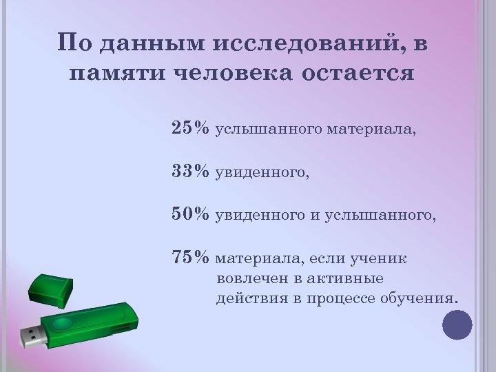 По данным исследований, в памяти человека остается 25% услышанного материала, 33% увиденного, 50% увиденного