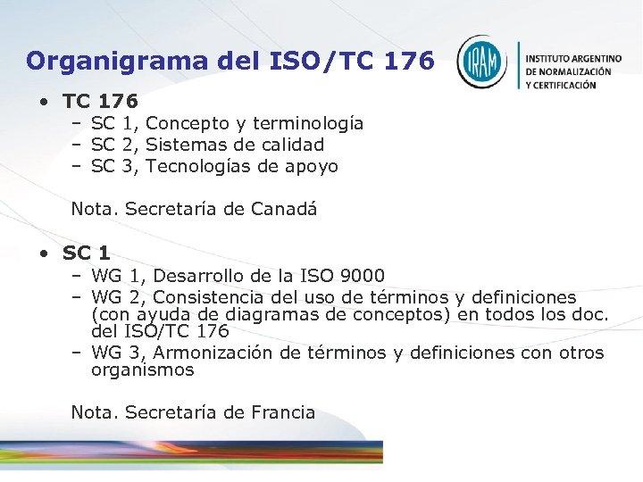 Organigrama del ISO/TC 176 • TC 176 – SC 1, Concepto y terminología –