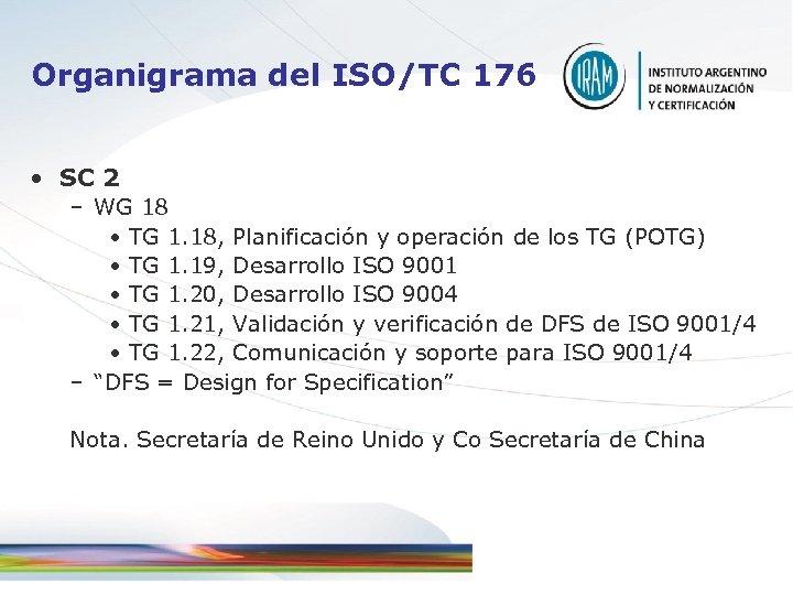 Organigrama del ISO/TC 176 • SC 2 – WG 18 • TG 1. 18,