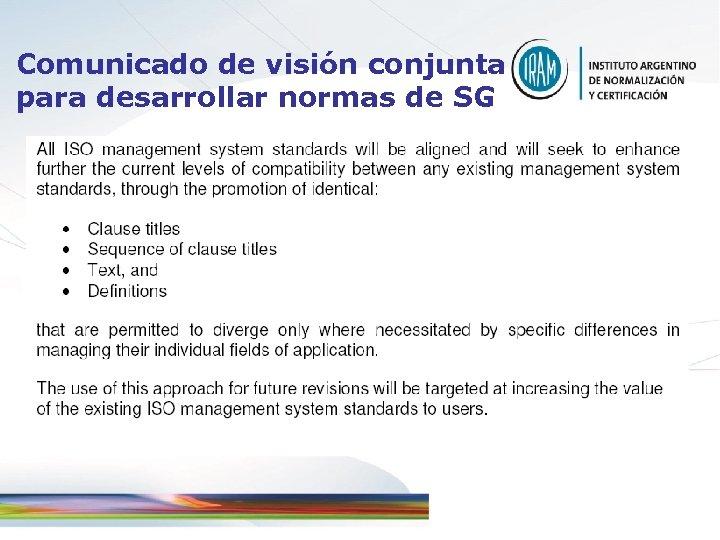 Comunicado de visión conjunta para desarrollar normas de SG