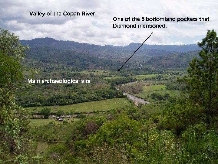 Valley of the Copan River. Main archaeological site One of the 5 bottomland pockets