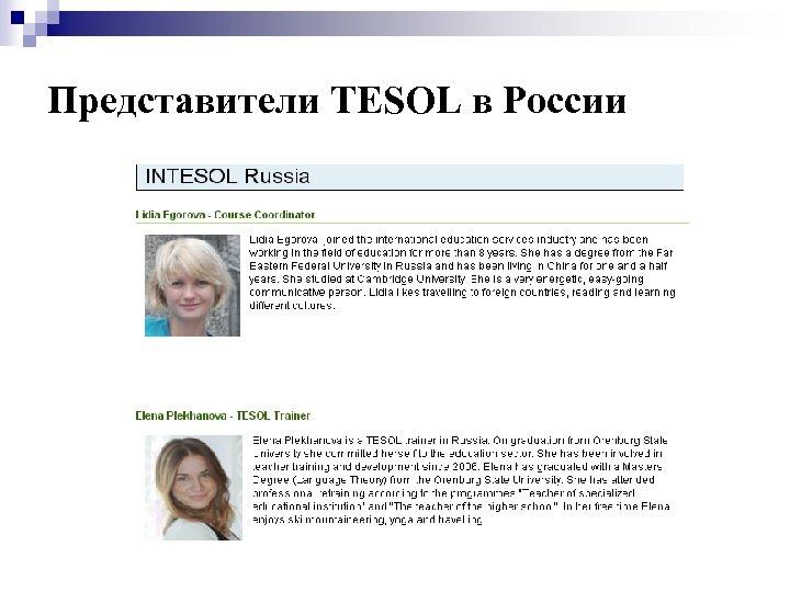 Представители TESOL в России