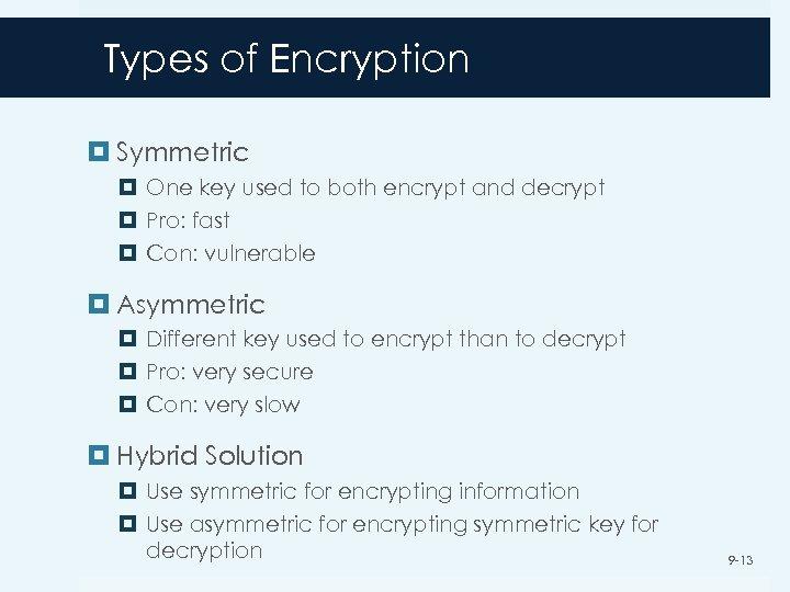Types of Encryption Symmetric One key used to both encrypt and decrypt Pro: fast