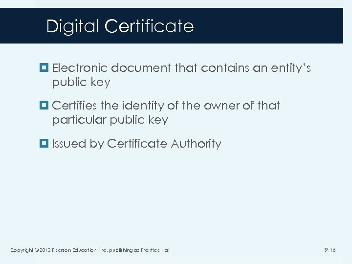 Digital Certificate Electronic document that contains an entity's public key Certifies the identity of