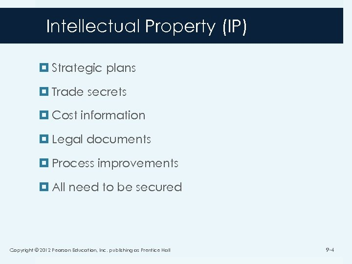 Intellectual Property (IP) Strategic plans Trade secrets Cost information Legal documents Process improvements All