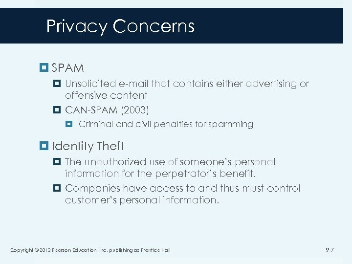 Privacy Concerns SPAM Unsolicited e-mail that contains either advertising or offensive content CAN-SPAM (2003)