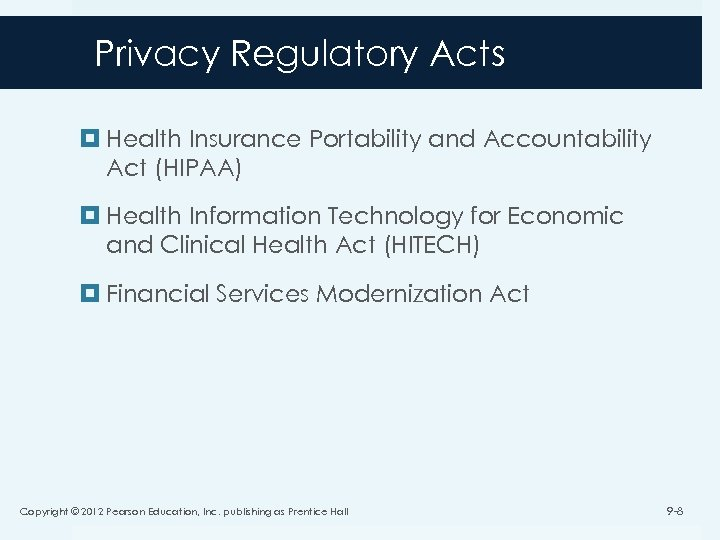 Privacy Regulatory Acts Health Insurance Portability and Accountability Act (HIPAA) Health Information Technology for