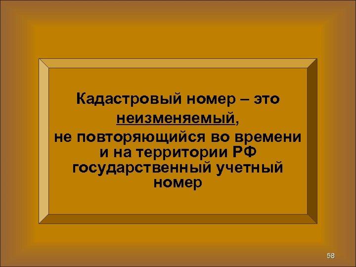 Кадастровый номер – это неизменяемый, не повторяющийся во времени и на территории РФ государственный
