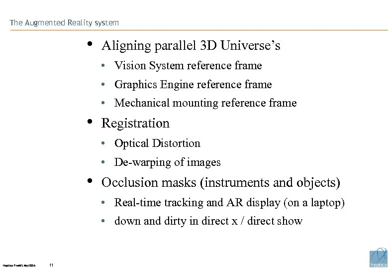 The Augmented Reality system • Aligning parallel 3 D Universe's • Vision System reference