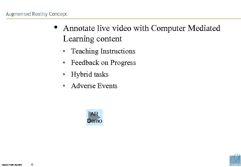 Augmented Reality Concept • Annotate live video with Computer Mediated Learning content • Teaching