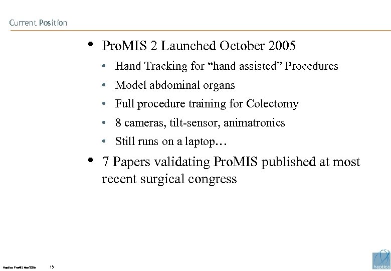 """Current Position • Pro. MIS 2 Launched October 2005 • Hand Tracking for """"hand"""