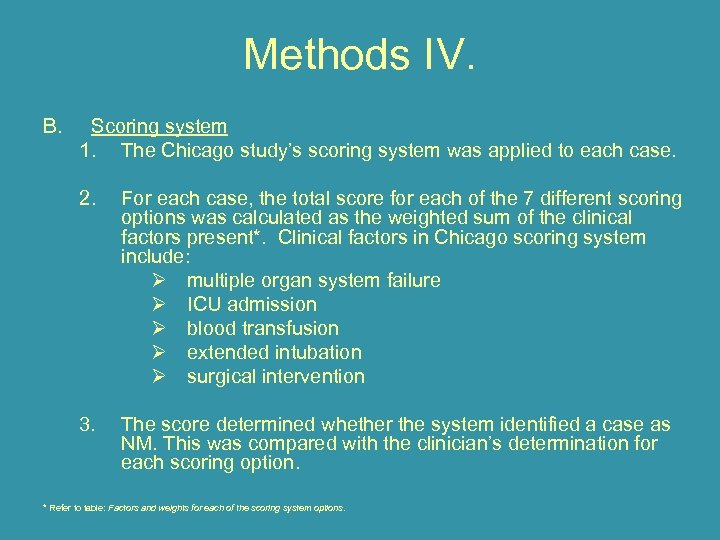 Methods IV. B. Scoring system 1. The Chicago study's scoring system was applied to