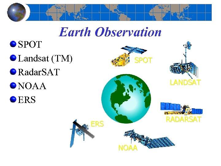 Earth Observation SPOT Landsat (TM) Radar. SAT NOAA ERS SPOT LANDSAT RADARSAT ERS NOAA