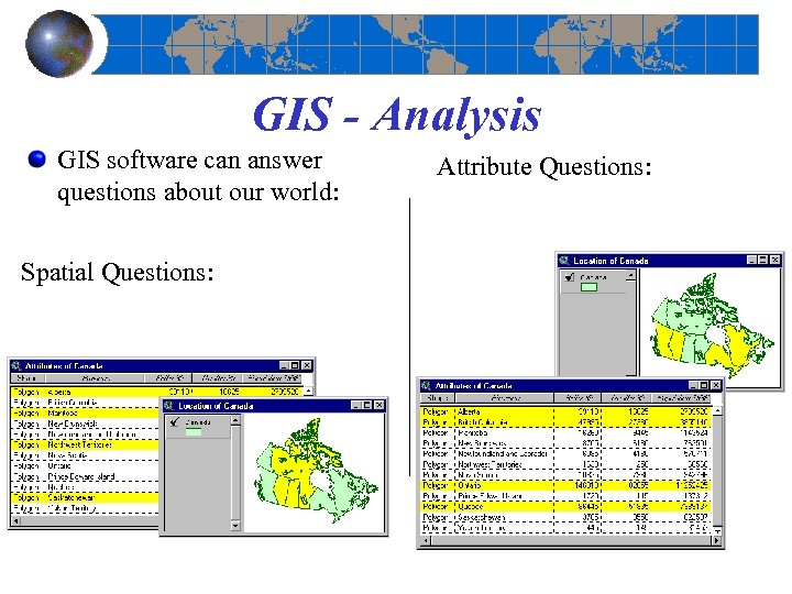 GIS - Analysis GIS software can answer questions about our world: Spatial Questions: What